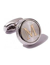 Men's 2PCS Fashion Dazzle Tuxedo Shirts Cufflinks Platinum Plated Cuff Button Alphabet Letter A-Z