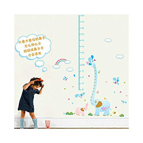 Bunny Chart Height - Alrens_DIY(TM)Cartoon Long Nose Elephant Height Growth Chart Adhesive Sticker DIY Wall Stikcer Removable Home Decoration Kid Nursery Room Living Room Creative Childlike Mural Decal