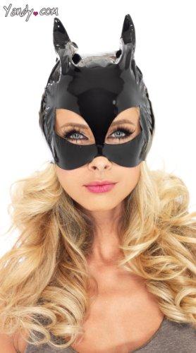 Vinyl Costumes (Leg Avenue Women's Vinyl Cat Woman Mask Costume Accessory, Black, One Size)