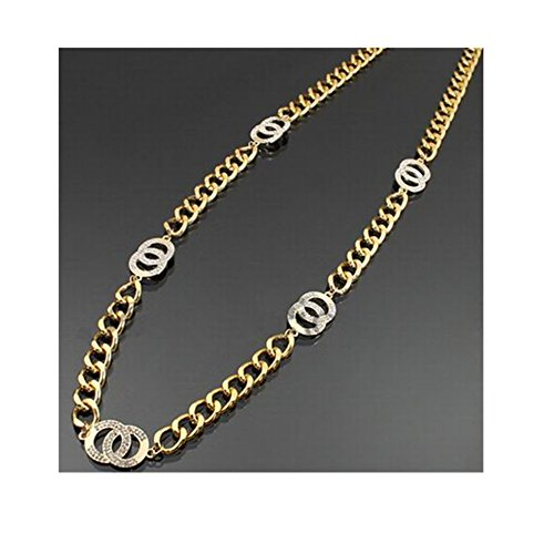 [Alloy Circle Sweater Necklace Rhinestone Long Chain Jewelry (Goldtone)] (Circe Costume)