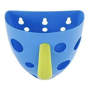 Baosity Plastic Bathroom Wall Sucker Hanging Bath Toys Storage Basket Holder -Blue