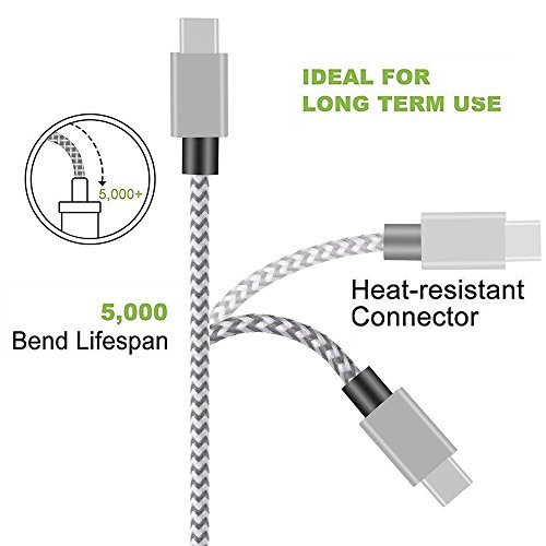 USB Type C Cable,THRRLY Nylon Braided USB A to USB C Long Cord Fast Charger Cable for Samsung Galaxy S9/S9 Plus/S8 Plus/Note 8,LG G6/G5/V20,New Macbook and more. (Silver+Gray 3FT) by THRRLY (Image #2)