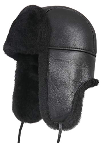 Zavelio Unisex Shearling Sheepskin Aviator Russian Bomber Hat XX-Large Solid Black - Front Tie Wool Jacket