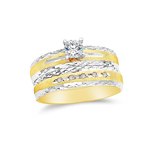 Size - 7 - 14k Two Toned Gold Highest Quality CZ Cubic Zirconia Round Bridal Engagement and Wedding Two Ring Set (1/4ct. Center Stone) ()