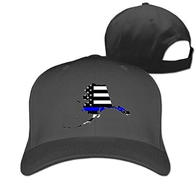 Alaska State Map Element Shape Thin Blue Line Design Designer Trucker Cap Peaked Hat Unisex Baseball Hats