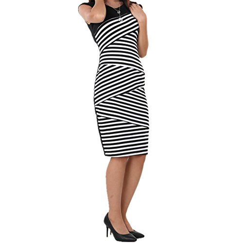 Nature Beauty Summer Women Dresses Sexy multi-striped pencil Short Sleeve Bodycon Dresses