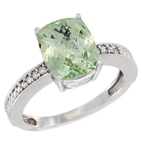 10K White Gold Diamond Cushion 10x8 mm Genuine Green Amethyst Stone Ring size 7
