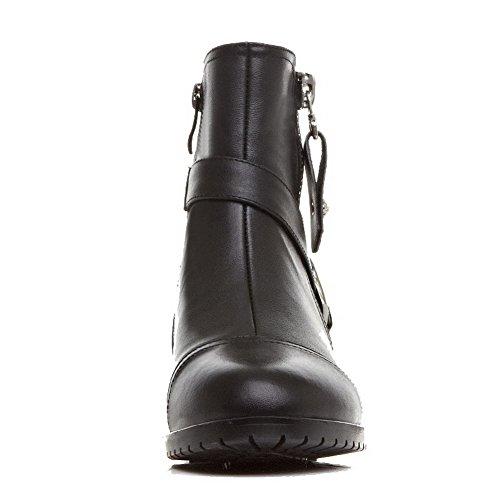 Top Solid zippers Women's Allhqfashion Black Materials Closed Toe Boots Low Blend gxZTwqPnaE
