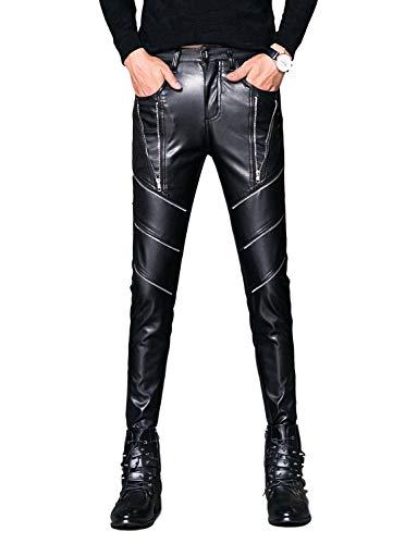 Idopy Men`s Black Party Stage Performance Slim Fit Biker Faux Leather Pants 1147 29 ()
