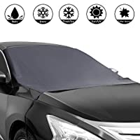 "Shynerk Magnetic Edges Car Snow Cover, Frost Car Windshield Snow Cover, Frost Guard Protector, Ice Cover, Car Windsheild Sun Shade, Waterproof Windshield Protector Car/Truck/SUV 82""x48.8"""
