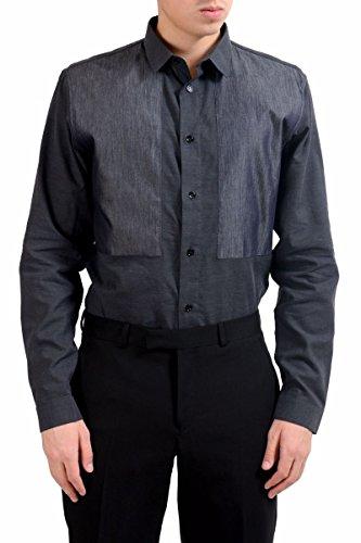 Dior Christian Men's Silk Dark Gray Long Sleeve Dress Shirt Size US 16 IT 41 - Christian Dior Mens Clothing