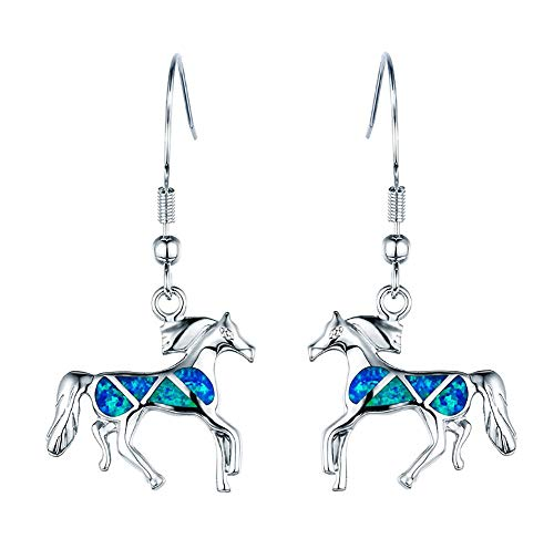 - RC Women Girls Jewellery Blue Opal Horse 925 Sterling Silver earring