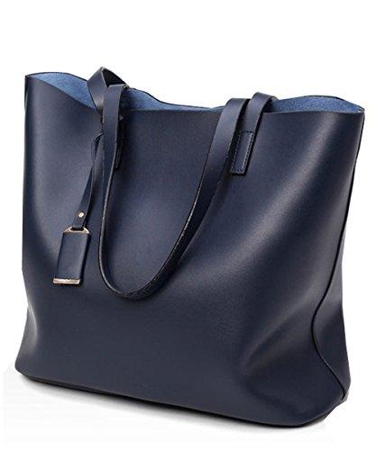 Womens 2 Piece Tote Bag Leather Handbag Crossbody Bags Set (Blue) - 2