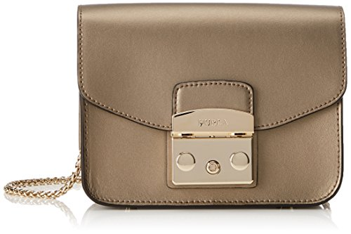 FURLA Metropolis Mini Crossbody, Borsa Donna Oro (Color Bronzo)