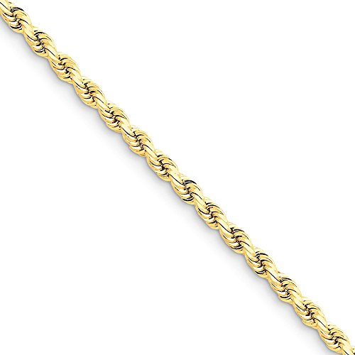 14k Yellow Gold 4mm D/C Rope with Lobster Clasp Chain Necklace 7 - 4 Dc Rope Mm