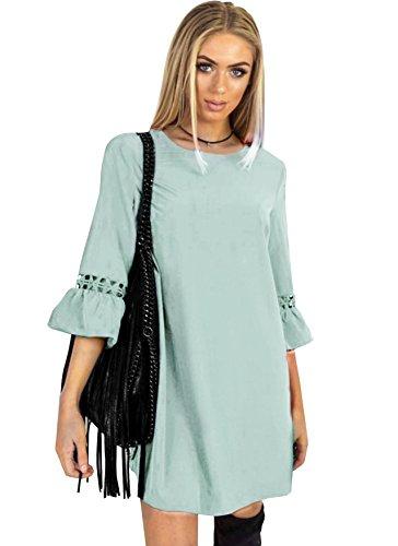 Aitos A Linie Kleider Damen 3/4 Arm Sommerkleid Tunika Elegante ...