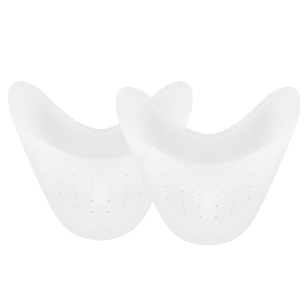 SOUMIT Toe Caps - Soft Breathable Silicone Gel Forefoot Cushion Pads, Toe Protector Support Sleeve for Ballet, Dance, Pointed Shoe, Athlete and More (Women & Men White) SO_SOUMIT0159422-1