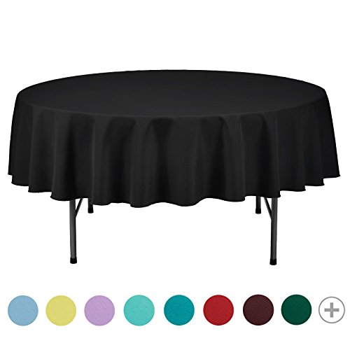 VEEYOO Tablecloth 70 inch Round Solid Polyester Table Cover for Wedding Restaurant Party Picnic Indoor Outdoor Use, Black by VEEYOO
