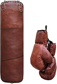 G4 Vision Antique Leather Cowhide Punch Bag Vintage Punching Bag with Boxing Gloves Punchbag Heavy Bags MMA 4f