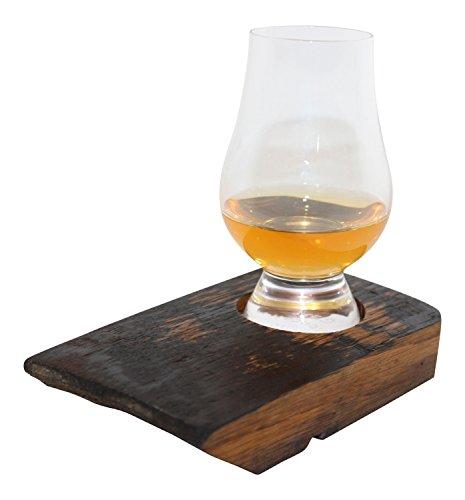 Reza Oak Wood Scotch Whisky Barrel Tray with Glencairn Tasting Glass Oak Set Sideboard