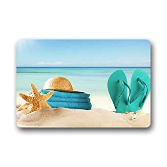 """Custom Machine-Washable Door Mat Flip Flop Summer Beach Indoor/Outdoor Decor Rug Doormat 23.6""""(L) x 15.7""""(W)"""