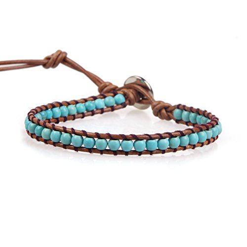KELITCH Turquoise Beaded Single Wrap Bracelet Handmade New Cuff on Natural Leather (Black)