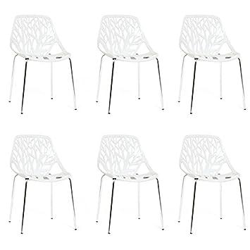 Designetsamaison Lot De 6 Chaises Blanches Lily Amazon Fr