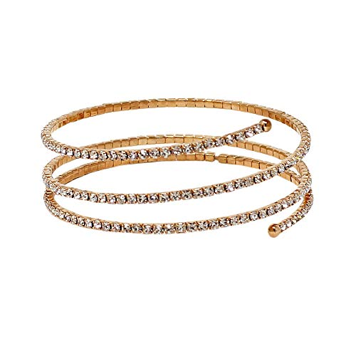 JewelryNanny Rhinestone Wrap Around Bracelet Rose Gold 3 Row ()