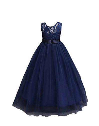 Kids Big girl Lace Maxi Bridesmaid Princess Wedding Pageant Formal Chiffon Dress -Glosun (3-4 Years, Navy Blue)