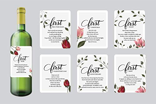 7 Wedding Milestone Wine Bottle Labels, Gifts for Bridal Shower, Wedding Gifts for Couple -