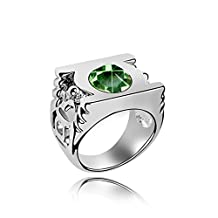 Gambulin Crystal Green Lantern Logo Ring Size 5.5 (Olive),Crystal Ring for Men