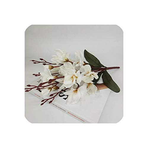45Cm Artificial Silk 5 Branch Magnolia Home Hotel Table Decoration Fake Flower Wedding Bride Holding Photography Props 1Pc,A]()