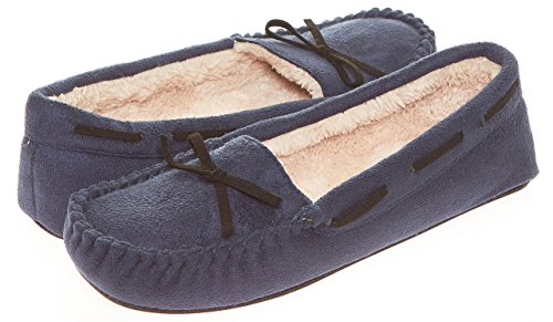 Seranoma Women's Slip-On Faux Fur Lined Flats Moccasin Slipper Navy