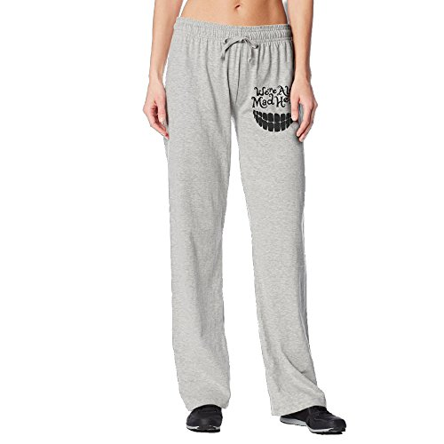 BakeOnion Women's Evil Teeth We're All Mad Here Performance Workout Pants L Ash -