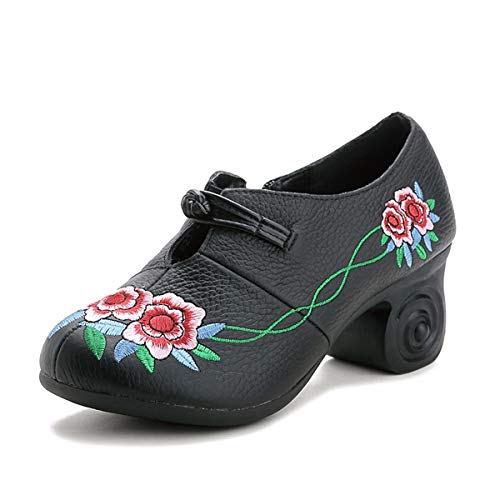 Leather And Mother'S Black And KPHY Six Shoes Spring Women'S Middle Retro Shoes Ethnic Autumn Shoes Embroidery Rough Comfortable Thirty fU66PqOxw
