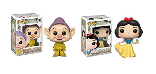 Funko POP! Disney's Snow White and the Seven Dwarfs Dopey Dwarf and Princess Snow White Toy Action Figure - 2 POP BUNDLE