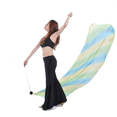 Different Types Belly Dance Costumes (YSTD® Belly Dance Practice Costume Gradient Silk Veil Poi 1Veils + 1Poi Chain (23#))