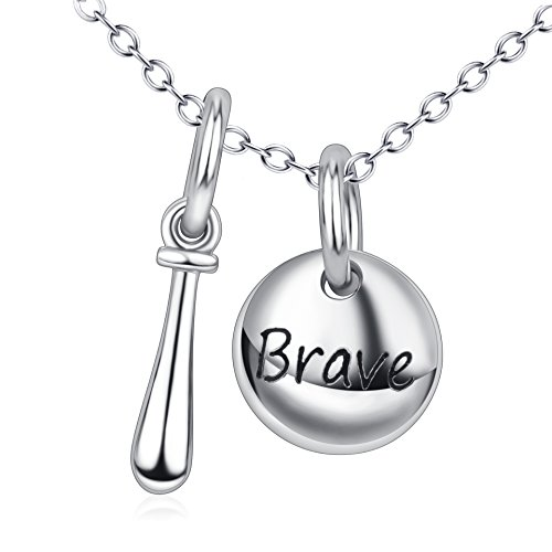Sterling Silver Bowling Ball (Unisex Jewelry 925 Sterling Silver Engraved 'Brave