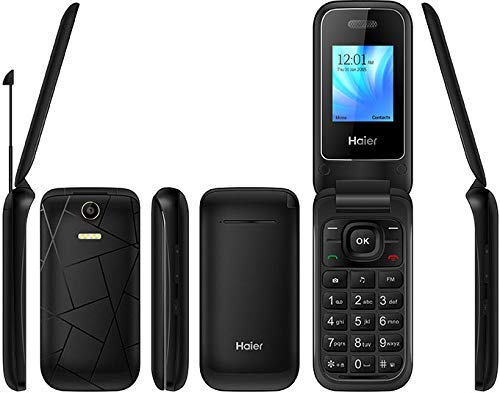 Haier C300 Flip Phone 2018 GSM Dual Sim Quad Band Mediatek MT6261D, Flashlight, Factory Unlocked (Black)