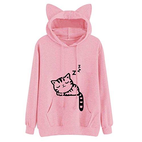 Las mujeres Sudaderas Sudadera Kawaii Rosa patrón Cat Invierno Manga larga Sudadera con capucha para mujer Bts Hooed oído Pink