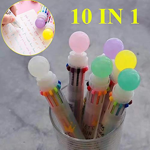 Aland-10 in 1 Multicolor 0.5mm Retractable Ballpoint Pen 3D Round Ball School Supplies - Random Color]()