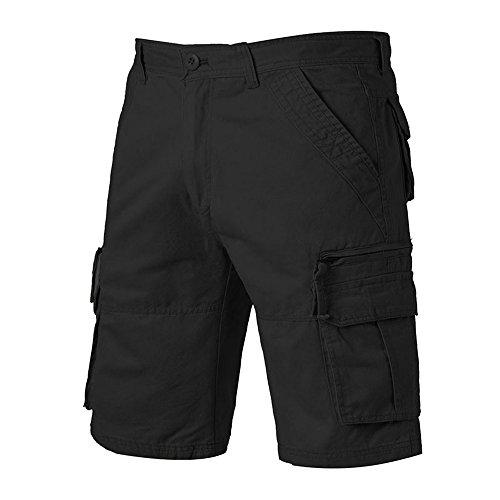 Flap Pocket Striped Shorts - iZHH Men's Casual Pure Color Outdoors Pocket Beach Trouser Cargo Shorts Pant (Black,34)