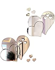 Bixzegg 3D Acrylic Heart Mirror Wall Decal,2 Sets Removable Double Heart Shaped DIY Self-Adhesive Wall Art Decals Home Decorations for Home Living Room, Bedroom, Bathroom(Silver)