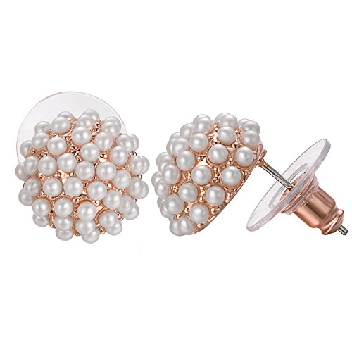 Yoursfs Pearl Cluster Stud Earrings 18k Rose Gold Plated White Cultured Pearl Earrings For Women