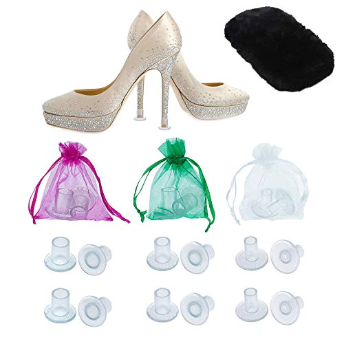 High Heel Protectors by MEGON - Heels Stopper for Women's Shoes, 6 pairs Small/Medium/Large - Perfect for Weddings, Races, Formal Occasions - Protecting from Grass, Gravel, Bricks & Cracks