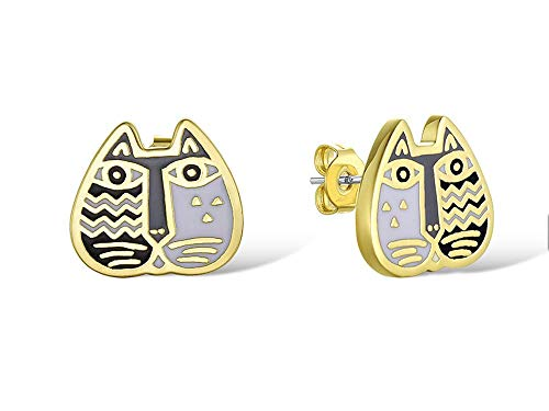 (Laurel Burch Jewelry Cat Face Stud Earrings Black and White)