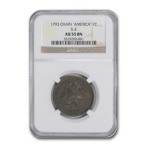 (1793 Flowing Hair - Chain Cent AU-55 NGC (Brown, America, S-3) Cent AU-55 NGC )