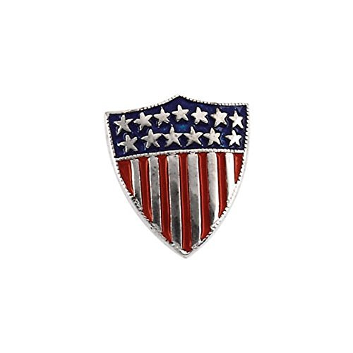 Gold America Shield (14K White Gold American Shield of Honor Lapel Pin)