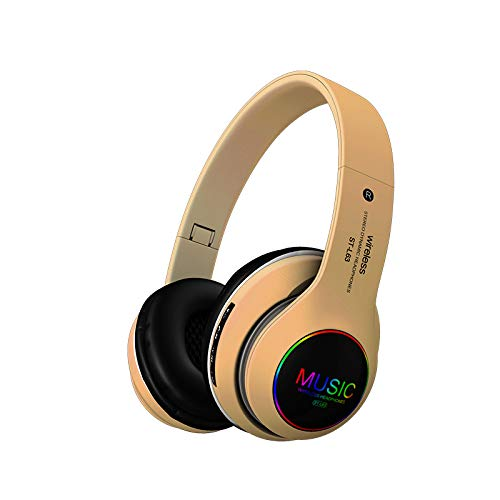 Bluetooth Headphones, Led Light Up Headphones with Mic, Wireless/Wired Mode, Hi-Fi Stereo Sound Foldable Gaming Headsets TF Card Slot Compatible for iPhone iPad Laptop