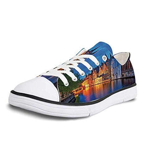 Canvas Sneaker Low Top Shoes,Medieval Decor Night Shot of Historic Middle Age Building Along The River in Bruges Heritage Old Town Photo Women 11/Man 8